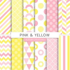 Pink & Yellow digital papers.  This set is for 12 digital papers and include chevron, stripes, polka dot, scales and more pattern designs in pink, yellow and white colors. These papers are perfect for scrapbooking, decoupage, collages, card and invitation design, party decoration, printables, birthdays, banners, photo backdrops, accessories, textile, product design and much much more!  - Find more designs here: http://www.etsy.com/shop/AlegraCreatives -  • This listing...