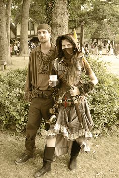Captain Autumnia and her First Mate  Costumes for Bristol Renaissance Faire's Steampunk Invasion Day. All Handmade Save for the Dress, Shoes, Pants and Corset.