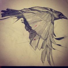 jonny-chaos: Crow in me journal. |  I love this sketch.