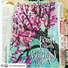 Spring is slowly making it's way through our little town and the trees are finally green and blooming. When I saw this delightful page from @christinasalive  I was immediately drawn in to the fresh pretty colours she chose. And what a great message to be reminded of- not only are we to inherit a seat in heaven with our King but we are rooted in a deep royal genealogy too! #underhisfeathers #documentedfaith #bibleart #icolorinmybible #Repost @christinasalive with permission.  1 Chronicles…