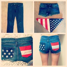 DIY american flag shorts for summer: cut a bandana up and sew to the pockets of your shorts. I will do this but NOT THAT SHORT