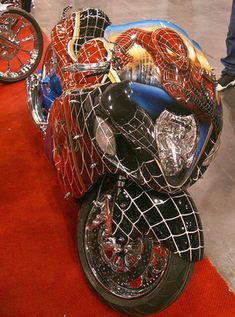 Spider-man Custom Design Low Storage Rates and Great Move-In Specials! Look no further Everest Self Storage is the place when you're out of space! Call today or stop by for a tour of our facility! Custom Street Bikes, Custom Sport Bikes, Course Moto, Harley Bikes, Chopper Bike, Cool Motorcycles, Hot Bikes, Super Bikes, Bike Life