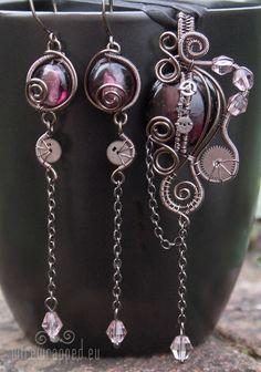 Steampunk/gothic purple set | handmade jewelry  http://www.pinterest.com/source/wirewrapped.eu/