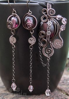 Steampunk/gothic purple set | handmade jewellery  NOW THATS DIFFERENT