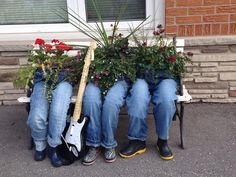 Who would have thought you could use your old jeans as planters. This collection of Denim Jeans Planters is awesome. Watch the video tutorial too.
