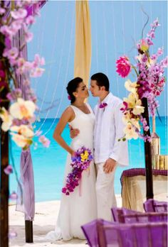 Bold colors set against Cancun's turquoise waters at Le Blanc Spa Resort Beach Wedding Colors, Beach Wedding Decorations, Purple Wedding, Dream Wedding, Beach Weddings, Destination Weddings, Wedding Flowers, First Dance Wedding Songs, Wedding Music