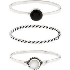 Accessorize Sterling Silver 3 X Jet & Mop Stacking Ring Set ($33) ❤ liked on Polyvore featuring jewelry, rings, accessories, joias, silver, stackable rings, accessorize jewelry, sterling silver stackable rings, sterling silver jewellery and stacking rings jewelry