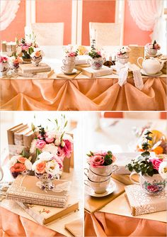 """love the look of tea cups? Guess what? We have vintage tea cup rentals included in our DIY-LIGHTFUL package! with a little imagination we can create a tablescape just as romantic as this one :) check them out on our website at www.marileegrace.com - under """"rentals"""""""