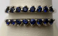 Genuine Natural Blue Sapphire Solitaire Enhancer Ring Guard Wrap 14k White Gold #WithSapphire