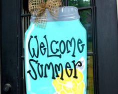 Summer Door Hanger Spring Door Hanger Door by LooLeighsCharm