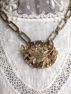 Upcycled Vintage Brooch Necklace/ Vintage Assemblage Necklace/ Mid-Century Jewelry on Etsy, $50.00
