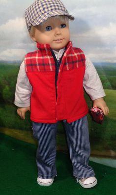 Red Vest Set Boy American Girl Doll, American Doll Clothes, American Dolls, Boy Doll Clothes, Crochet Doll Clothes, Doll Clothes Patterns, Man Doll, Girl Dolls, 18 Inch Boy Doll