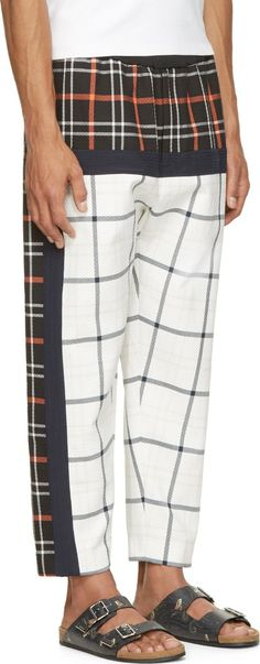 3.1 Phillip Lim White & Navy Quilted Plaid Lounge Pants