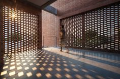 Brick grates set into the walls of a Bangkok house hide a series of outdoor spac. - Brick grates set into the walls of a Bangkok house hide a series of outdoor spaces - Brick Architecture, Architecture Office, Architecture Details, Dezeen Architecture, Brick Design, Facade Design, Screen Design, Exposed Brick Walls, Brick Patterns