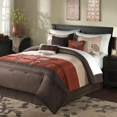 "Jelissa Comforter Set Size: Queen by Madison Park. $159.99. Material: Polyester. Jelissa is an updated bedding collection that features a beautiful embroidery pattern carefully stit. Set Includes: 1 Comforter, 2 Standard Shams, 1 Bedskirt, 3 Decorative Pillows. Patten: Embroidered. Size: Queen: 90x90""/20x26+2""(2)/60x80+15""/18x18""/16x16""/10x18"". MP10-187 Size: Queen Features: -Material: Faux silk dupioni.-Embroidered pattern.-Pieced and embroidered decorative pillows...."