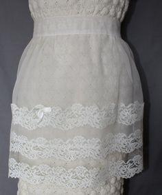 Vintage Sheer White Hostess Apron 1950's Era by ilovevintagestuff