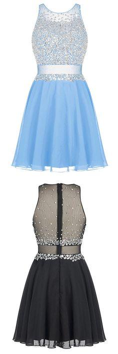 Beaded Prom Dress, Chiffon Prom Dresses, Tulle Homecoming Dress, Blue Homecoming Dresses, Open Back Cocktail Dresses
