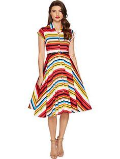 Unique Vintage Striped Shirtdress - Ad