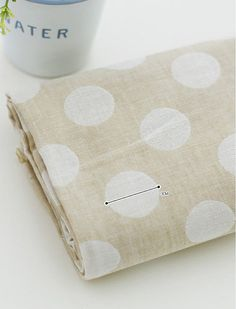 Cotton Double Gauze Pastel Big Polkadot  Beige  per by landofoh, $20.80-Dining room curtains?