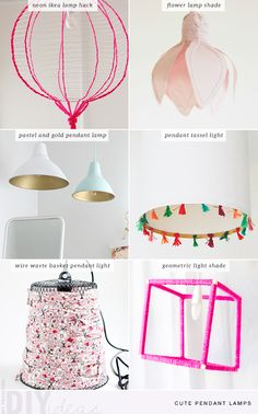 Show off your creativity with these DIY pendant lampshades. Quickly add color and character to a room without making permanent changes. Pendant Lamps, Gold Pendant, Ikea Lamp, Flower Lamp, Curtains With Blinds, Diy For Girls, Cool Diy, Decoration, Diy Home Decor