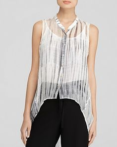 Bringing the boho for spring, Eileen Fisher captures one of the season's top trends in this breezy printed blouse, designed exclusively for Bloomingdale's. The laid-back label infuses free-spirited edge into this sheer silk style with hippie-chic tie-dye and a flowing high-low hemline. #100PercentBloomies