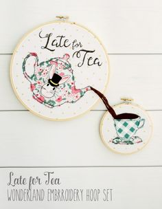 Late for Tea, free embroidery hoop art pattern using Wonderland fabrics. Free pattern to make embroidery hoop wall art, cute idea for girls room decor Learn Embroidery, Hand Embroidery Stitches, Embroidery Hoop Art, Cross Stitch Embroidery, Cross Stitch Patterns, Embroidery Ideas, Mini Quilts, Sewing Crafts, Diy Crafts