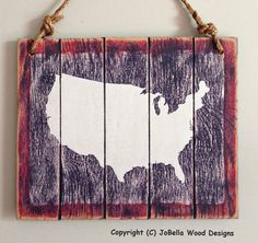 US Map Distressed Wood Painting in Red White by JoBellaWoodDesigns