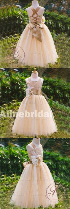 LOVELY LACE SLEEVELESS LACE UP BACK LACE FLOWER GIRL DRESSES WITH HANDMADE FLOWER SASH, FGS032 Cute Flower Girl Dresses, Lace Flower Girls, Little Girl Dresses, Girls Dresses, Miss Pageant, Beauty Pageant Dresses, Bridesmaid Dresses, Wedding Dresses, Dream Dress