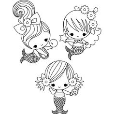 Little Mermaids Coloring Page