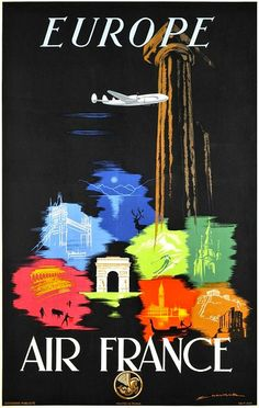 Vintage poster from Air France for travel to Europe, ca1955.     Travel in Europe