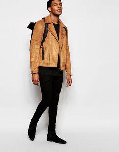 Image 4 ofASOS Faux Suede Biker Jacket In Tan