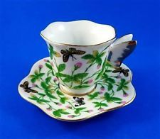Unmarked Butterfly Handle Chintz Demitasse Tea Cup and Saucer Set