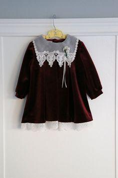 24 months: Burgundy Velour Velvet Baby Dress Lace by Petitpoesy