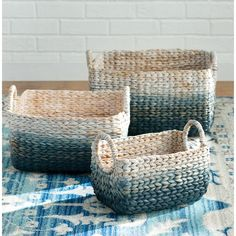 3 Piece Woven Water Hyacinth Basket Set from Birch Lane Storage Containers, Storage Baskets, Traditional Baskets, Traditional Furniture, Water Hyacinth, Large Baskets, Woven Baskets, Rattan Basket, Basket Decoration