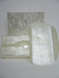Stunning 60s Wilardy Ivory Pearl Lucite Bathroom Set by KitchieKu, $100.00