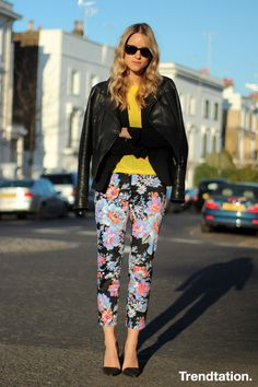 floral pants with leather jacket