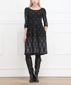 Look at this Charcoal Geometric Three-Quarter Sleeve Dress on #zulily today!