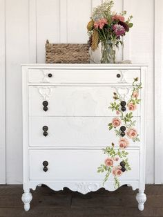 Painterly Roses Decor Stamp by Shangri-La Lane The Ultimate Inspiration Guide For Painted Furniture Makeovers 28 Awesome DIY Furniture Makeover Ideas Painting Wooden Furniture, Refurbished Furniture, Repurposed Furniture, Shabby Chic Furniture, Rustic Furniture, Furniture Makeover, Cool Furniture, Furniture Ideas, Antique Furniture