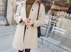 #Wool Blend Single-Breasted #Coat