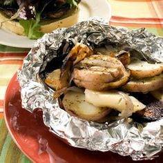 Cooking in foil packets makes for a tidy grill, and allows all the flavors to mingle and intensify. Here, thick slices of potato and onion are seasoned and cooked with butter until tender and brimming with flavor.