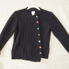 Black sweater with asymmetrical buttons Wool, angora, nylon Garnet hill Sweaters Cardigans