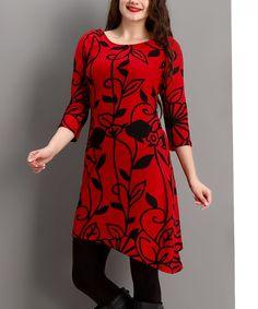 Another great find on #zulily! Red Floral Asymmetrical-Hem Dress - Plus #zulilyfinds
