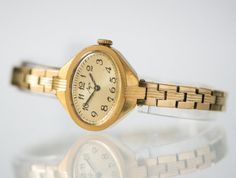 Gold plated lady's watch Ray cocktail watch oval face by SovietEra