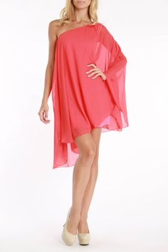 La Class Ophelia One Sleeve Cocktail Dress In Coral - Beyond the Rack... Bridal shower