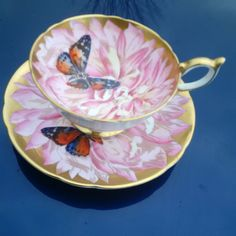 Aynsley Butterfly & Chrysanthemum Cup & Saucer Large Pink Flower Gold | eBay