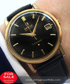 Restored Omega Constellation Solid Gold Automatic #omegadeepblack