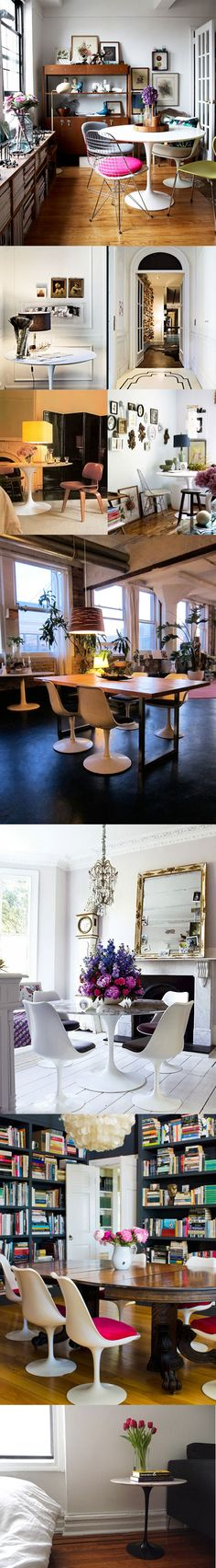 really love the top picture with the tulip table and the wire chair...someday