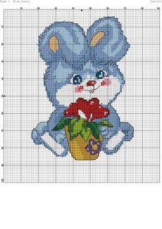 Blue bunny. Cross stitch.