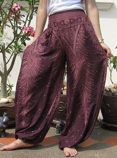 Bohemian Harem Wide Leg Yoga Boho Hippie Pants Trousers Purple
