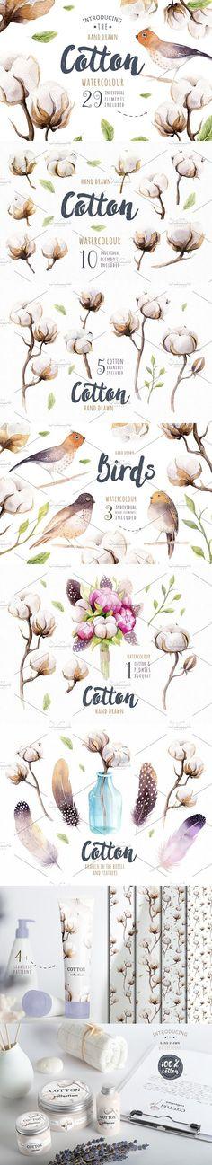 Watercolour cotton & birds. Wedding Card Templates